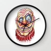 clown Wall Clocks featuring Clown by Kikillustration