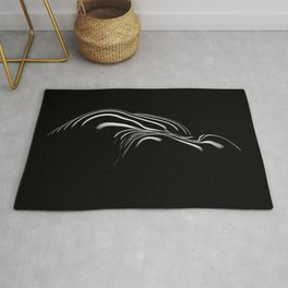 0694- Nude Female Naked BBW Geometric Black White Naked Body Big Abstracted Sensual Sexy Erotic Art Rug
