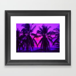 Pink Palm Trees by the Indian Ocean Framed Art Print