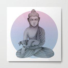 Buddha with dog 1 Metal Print