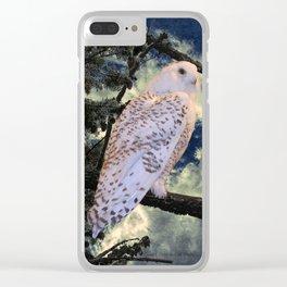 Snowy Owl Bird Stormy Sky A127 Clear iPhone Case