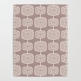 Mid Century Modern Atomic Rings Pattern Beige Poster