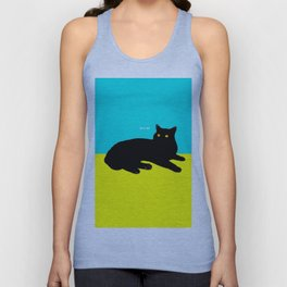 Black Cat on Yellow and Sky Blue Unisex Tank Top