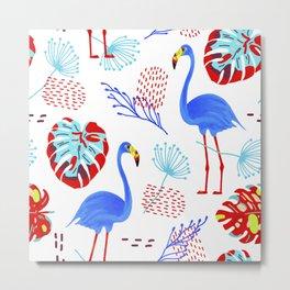 Tropical Flamingo Pattern Metal Print