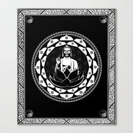 Buddha Black & White Yin & Yang Flower Of Life Canvas Print