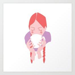 Redheaded Girl Sipping From Mug Art Print