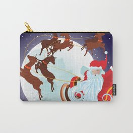 Santa Riding Christmas Sleigh at Night Carry-All Pouch