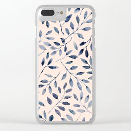 Blue grey leaves watercolor pattern Clear iPhone Case