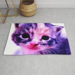 Blue Pink Cute Little Cat Rug