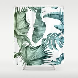 Tropical Palm Leaves Turquoise Green Blue Gradient Shower Curtain