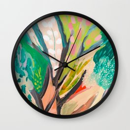 tree and leaf : abstract painting Wall Clock
