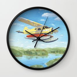 float plane - by phil art guy Wall Clock