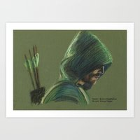 green arrow Art Prints featuring Green Arrow by xDontStopMeNow