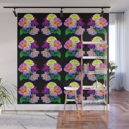Rosa Yellow Roses on Black Pattern Wall Mural