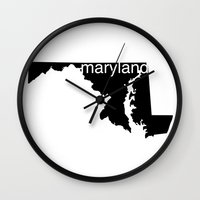 maryland Wall Clocks featuring Maryland by Isabel Moreno-Garcia