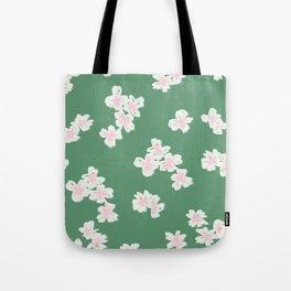 Cherry Blossom Green Tote Bag