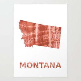 Montana map outline Red-brown colorful wash drawing painting Art Print