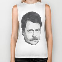 ron swanson Biker Tanks featuring Ron Swanson by Lina