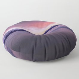 High Altitude Ice Covered Mountain Range Magenta Tint High Resolution Floor Pillow