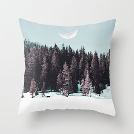 Snowy Forest Moon Throw Pillow