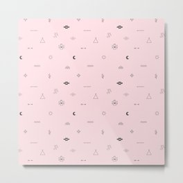 Southwestern Symbolic Pattern in Pale Pink & Charcoal Metal Print