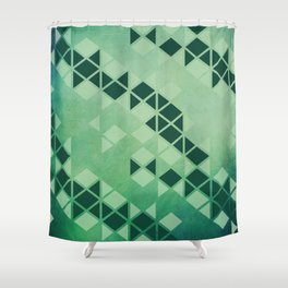 Awesome Forest Green   Geometric Triangle Pattern Shower Curtain