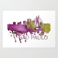 Sao Paulo Art, Sao Paulo Skyline, Sao Paulo map, Sao Paulo skyline, Sao Paulo map print Art Print