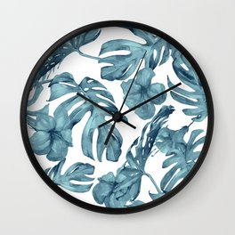 Teal Blue Tropical Palm Leaves Flowers Wall Clock