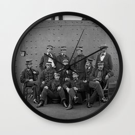 Union Officers on Deck of the USS Monitor - 1862 Wall Clock