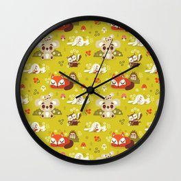 Sleeping Woodland Animals Wall Clock
