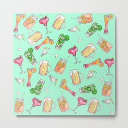 Fun Summer Watercolor Painted Mixed Drinks Pattern Metal Print