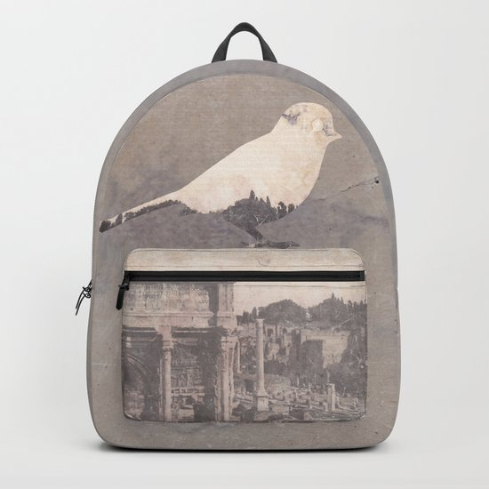 pink sky bird with trees Backpack