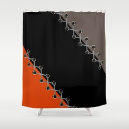 Lacing . Black , red and brown . Shower Curtain