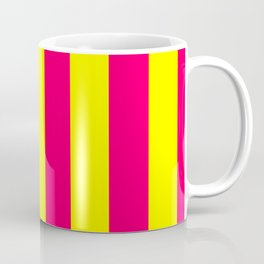 Bright Neon Pink and Yellow Vertical Cabana Tent Stripes Coffee Mug