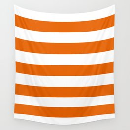 Spanish orange - solid color - white stripes pattern Wall Tapestry