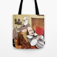 freud Tote Bags featuring Freud analysing Shakespeare by drawgood