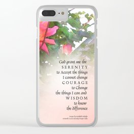 Serenity Prayer Pink Rose Two Buds Clear iPhone Case
