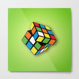 Rubik's Cube 3D Metal Print