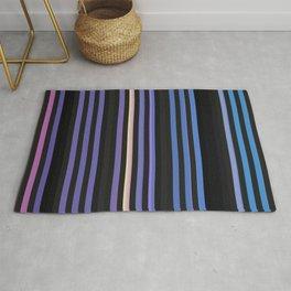 Stripes of black, blue, and purple Rug