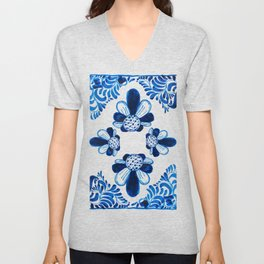 Blue & White Mexican Talavera Style // Vibrant Bright Blue Mexico Tile Painting, Festive, Colorful New  Unisex V-Neck