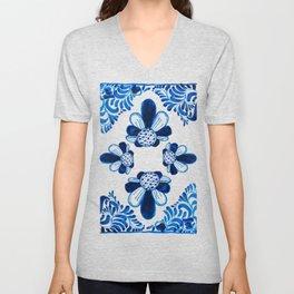 Blue & White Mexican Talavera Unisex V-Neck