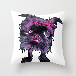 Lugga The Friendly Hairball Monster For Ghouls Throw Pillow