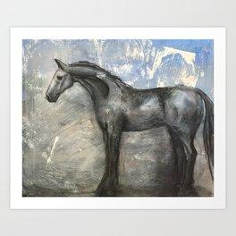 Monologue - Horse Art- Mixed Media Art Print