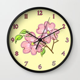 Pink Dogwood Knot Wall Clock