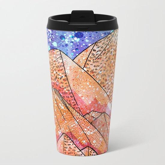 Paint Splatter Mountains Metal Travel Mug