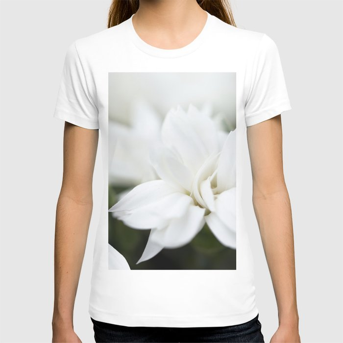 Snow White Flowers on a Dark Background #decor #society6 #buyart T-shirt