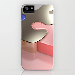 Golden puzzle joins blue and pink puzzle pieces - 3D rendering iPhone Case