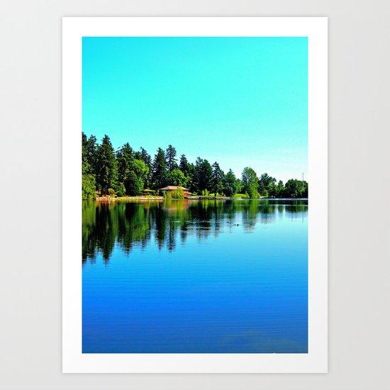 Summer lake view Art Print