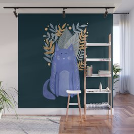 Cat and foliage - purple and dark blue Wall Mural