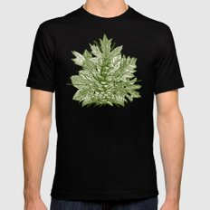 forest floor green ivory Mens Fitted Tee Black MEDIUM